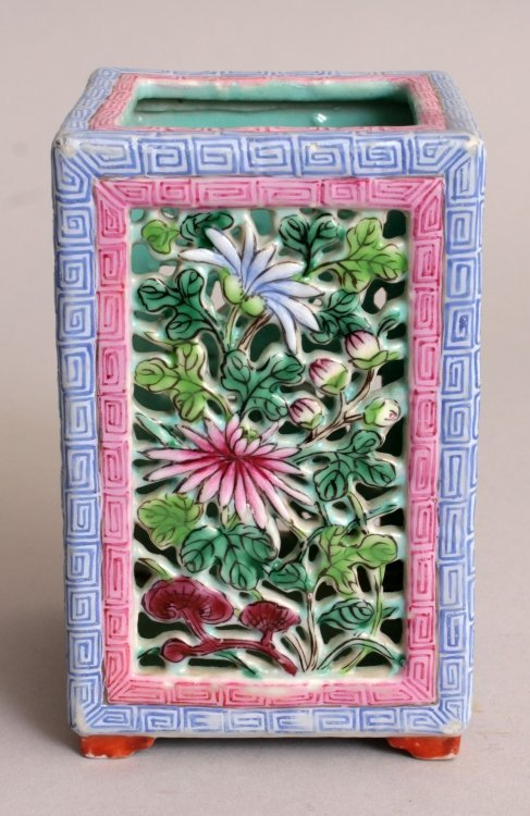 A GOOD QUALITY 19TH CENTURY CHINESE RETICULATED SQUARE - 2