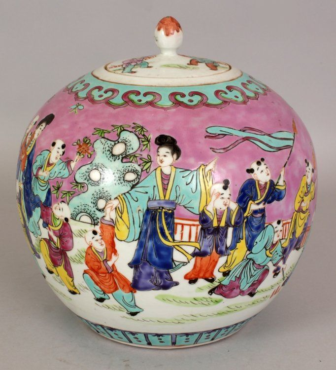 AN EARLY 20TH CENTURY CHINESE FAMILLE ROSE PINK GROUND