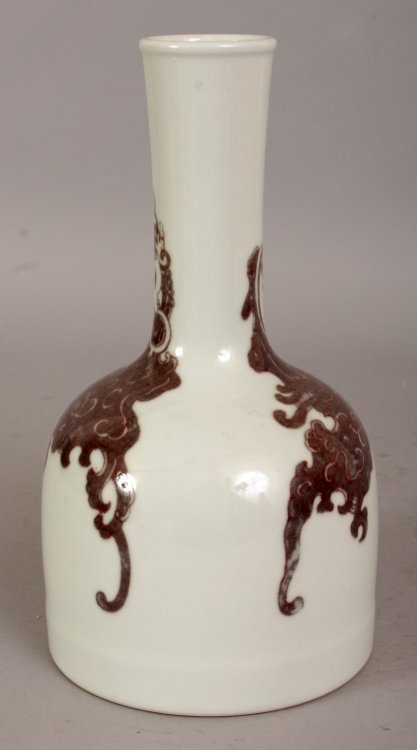 A CHINESE COPPER RED PORCELAIN BOTTLE VASE, the sides - 2
