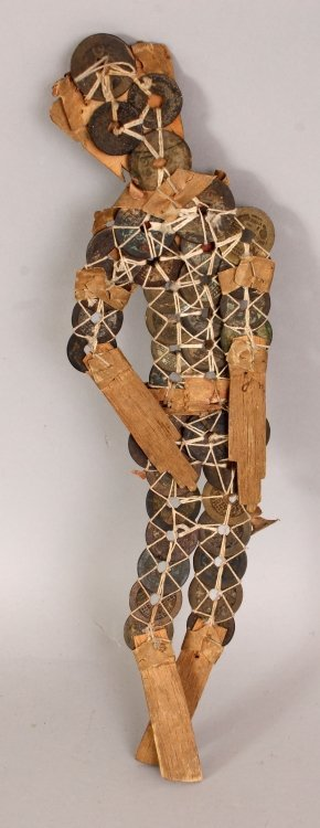 AN UNUSUAL CHINESE ARTICULATED FIGURE, formed from gilt - 2