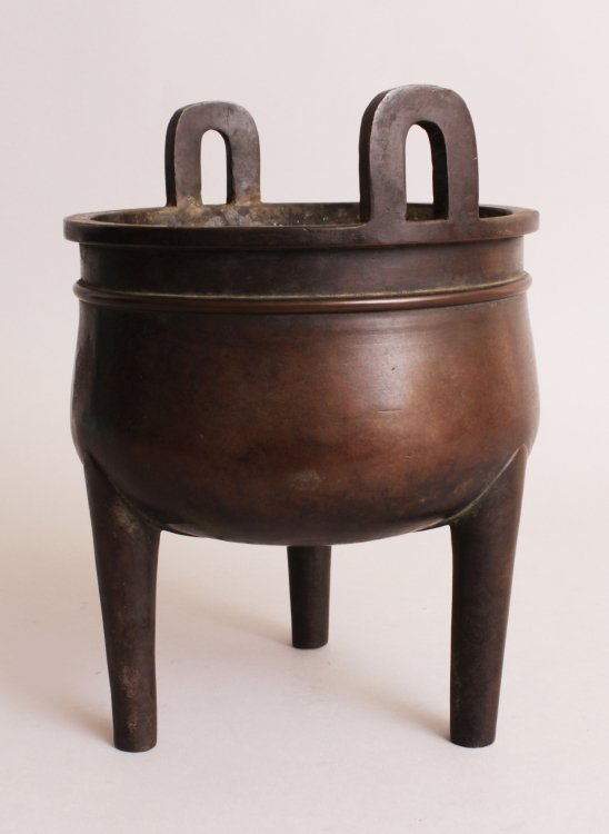 A CHINESE BRONZE TRIPOD CENSER, weighing 3.86Kg, with - 2