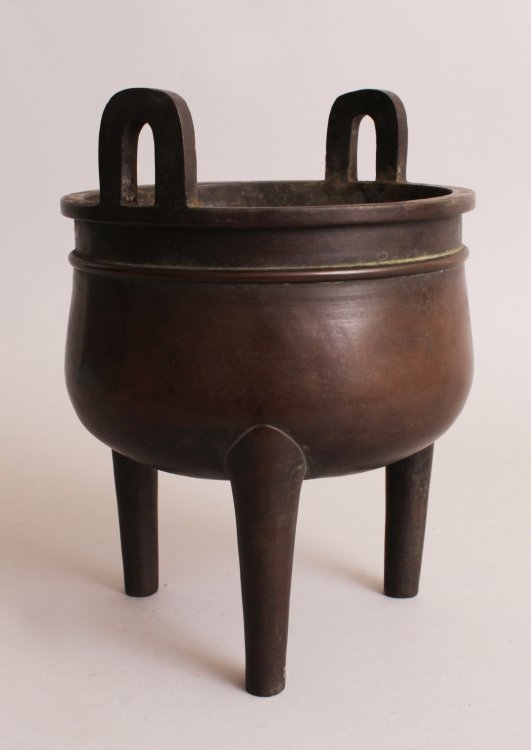 A CHINESE BRONZE TRIPOD CENSER, weighing 3.86Kg, with - 3