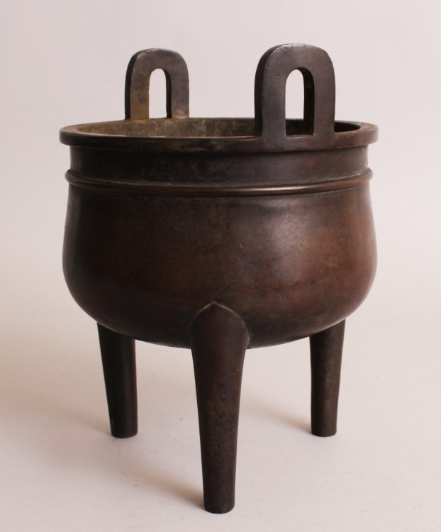 A CHINESE BRONZE TRIPOD CENSER, weighing 3.86Kg, with - 5