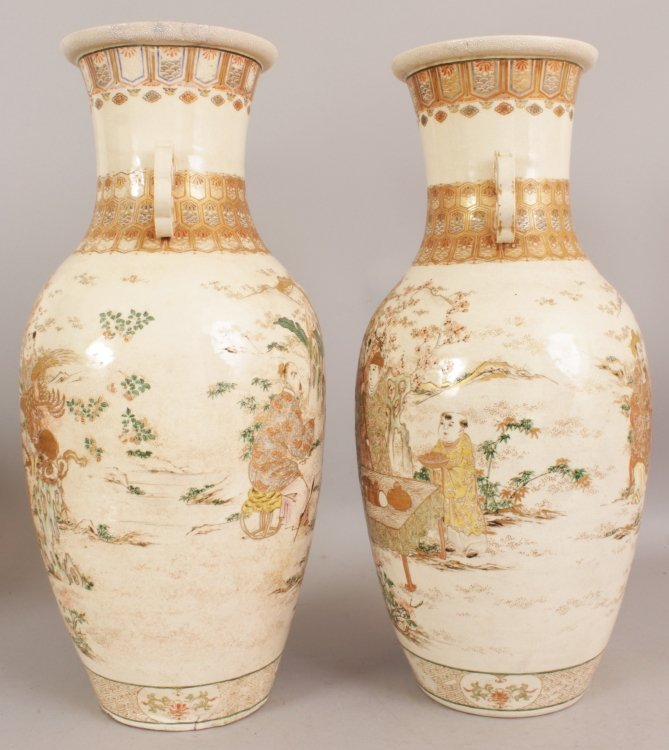 A LARGE PAIR OF 19TH/20TH CENTURY JAPANESE KYOTO - 2