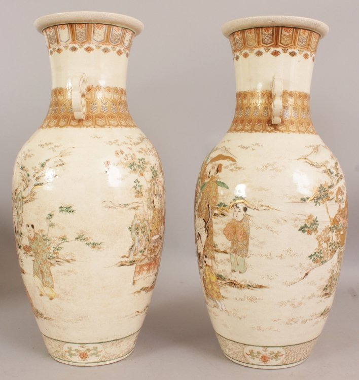 A LARGE PAIR OF 19TH/20TH CENTURY JAPANESE KYOTO - 4