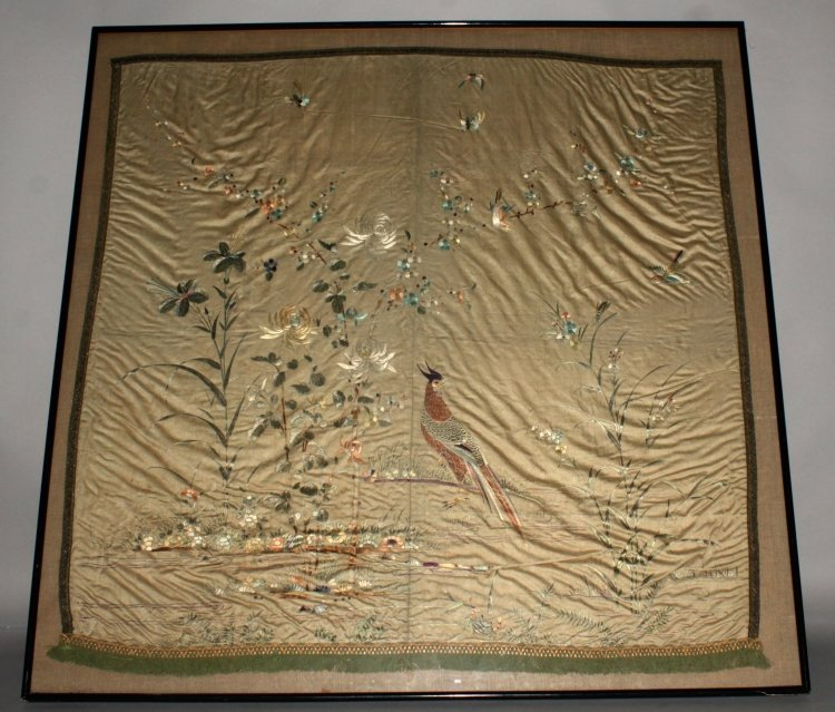A LARGE FRAMED 19TH/20TH CENTURY SILK EMBROIDERY,