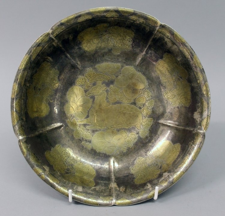 A GOOD QUALITY CHINESE TANG STYLE GILDED SILVER-METAL