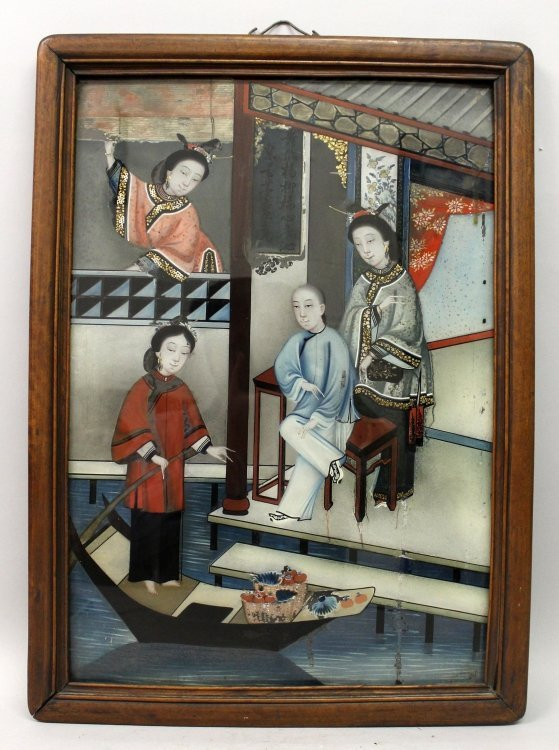 A CHINESE WOOD FRAMED REVERSE GLASS PAINTING, depicting
