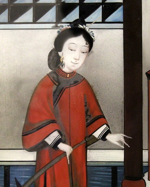 A CHINESE WOOD FRAMED REVERSE GLASS PAINTING, depicting - 4
