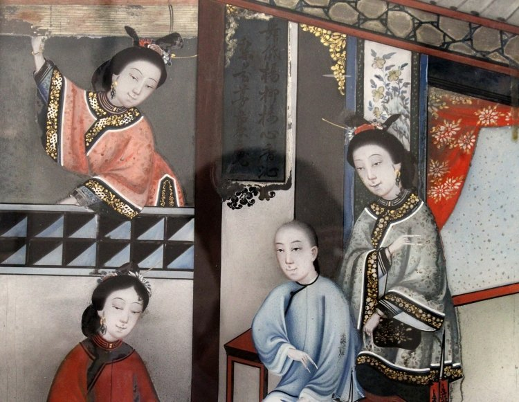 A CHINESE WOOD FRAMED REVERSE GLASS PAINTING, depicting - 6