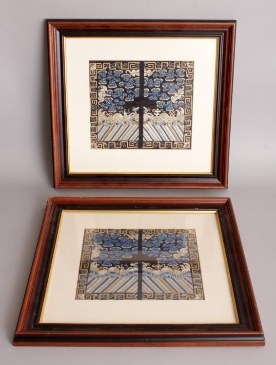 AN UNUSUAL PAIR OF EARLY 20TH CENTURY FRAMED CHINESE