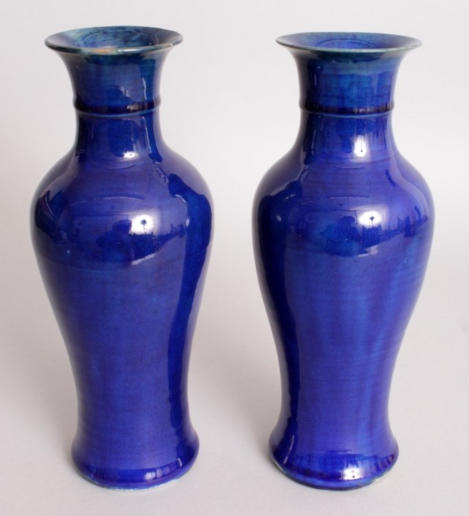 AN UNUSUAL PAIR OF 19TH CENTURY CHINESE BLUE GLAZED