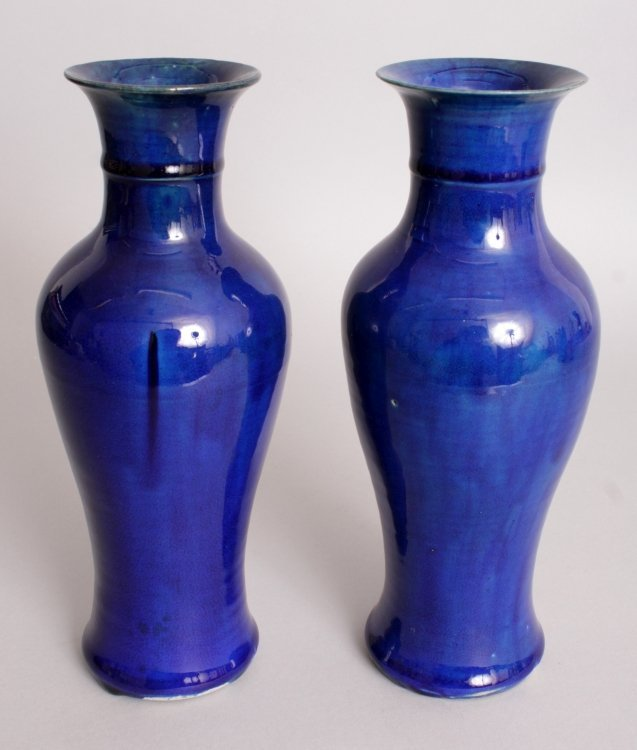 AN UNUSUAL PAIR OF 19TH CENTURY CHINESE BLUE GLAZED - 2