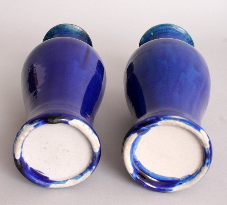 AN UNUSUAL PAIR OF 19TH CENTURY CHINESE BLUE GLAZED - 4