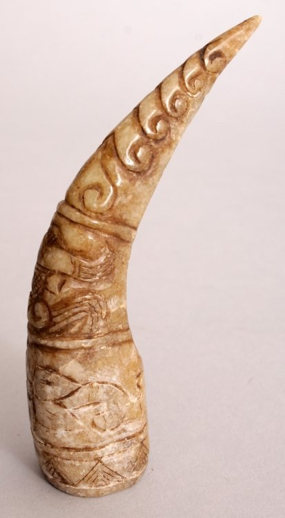 A CHINESE JADE LIKE NAIL PROTECTOR, of archaic design, - 4