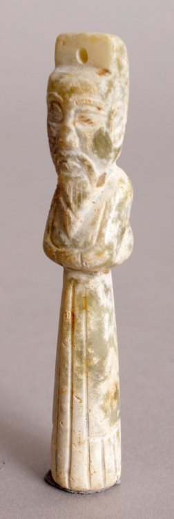 A CHINESE JADE LIKE NAIL PROTECTOR, of archaic design, - 6