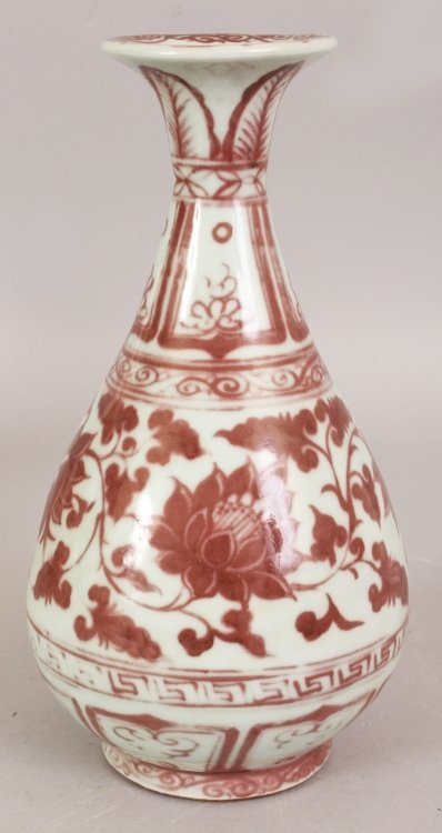 A CHINESE YUAN STYLE COPPER RED PORCELAIN VASE, the