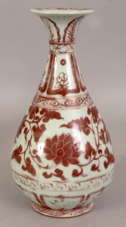 A CHINESE YUAN STYLE COPPER RED PORCELAIN VASE, the - 3