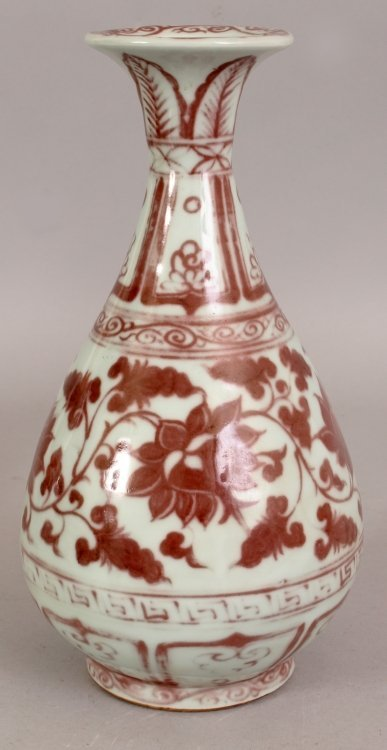 A CHINESE YUAN STYLE COPPER RED PORCELAIN VASE, the - 4