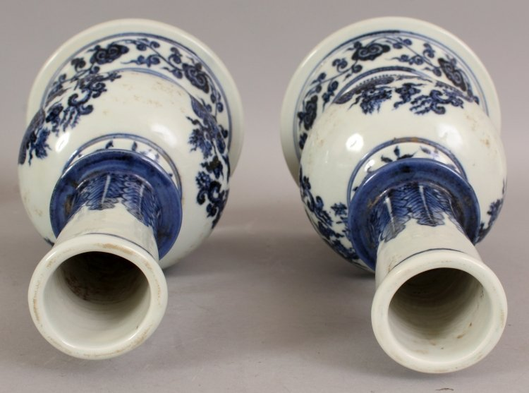 AN UNUSUAL PAIR OF MING STYLE PORCELAIN VASES, each - 7
