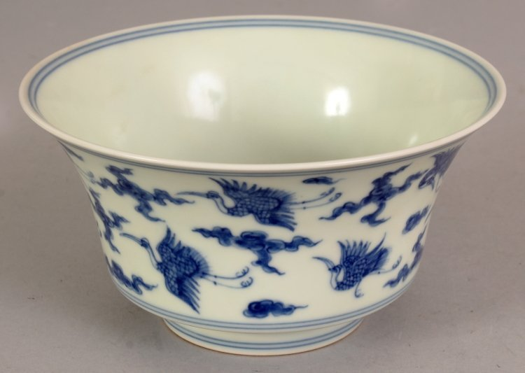 A CHINESE MING STYLE BLUE & WHITE PORCELAIN BOWL, the