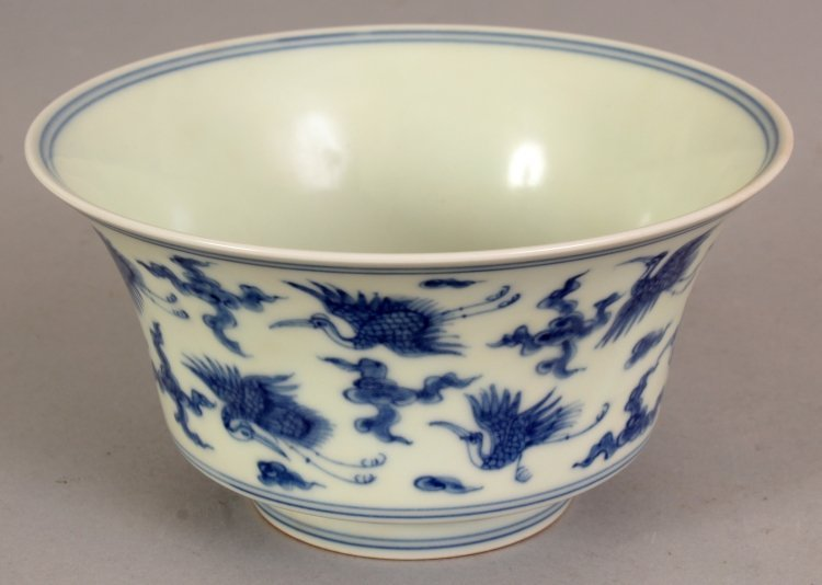 A CHINESE MING STYLE BLUE & WHITE PORCELAIN BOWL, the - 3