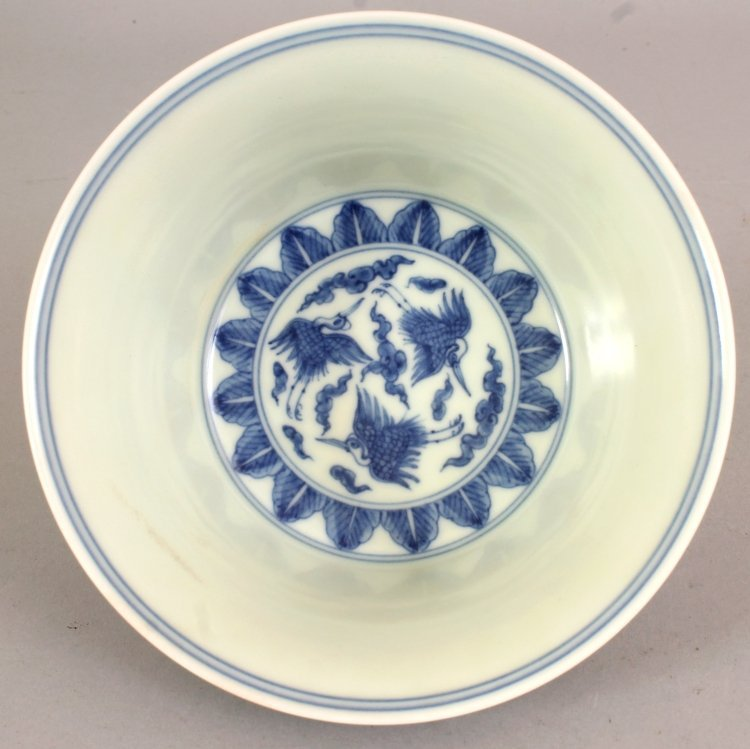 A CHINESE MING STYLE BLUE & WHITE PORCELAIN BOWL, the - 6