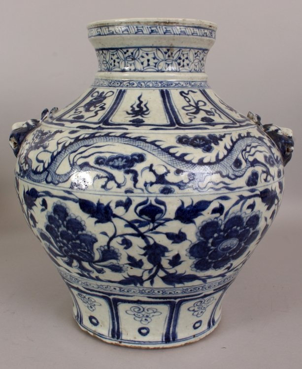 A LARGE CHINESE YUAN STYLE PORCELAIN VASE, decorated