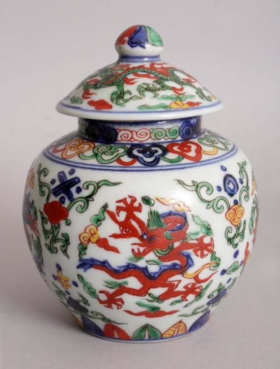 A CHINESE WUCAI PORCELAIN DRAGON JAR & COVER, the base - 4