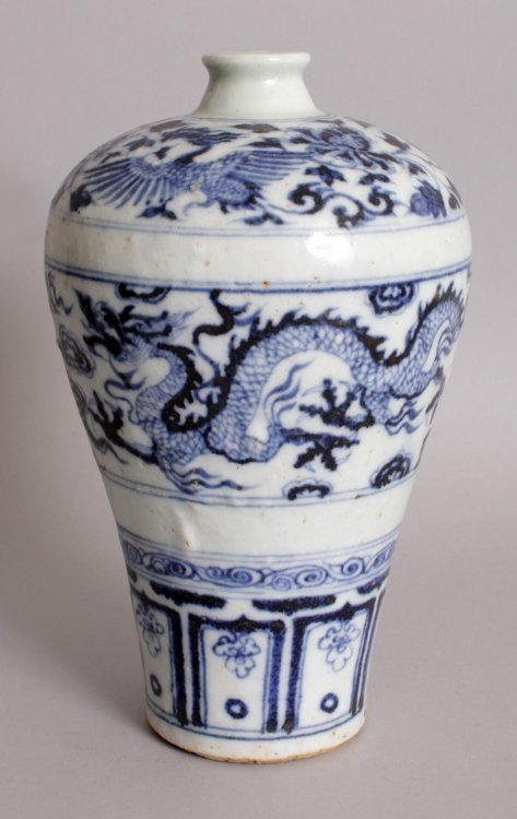 A CHINESE YUAN/MING STYLE BLUE & WHITE PORCELAIN - 3