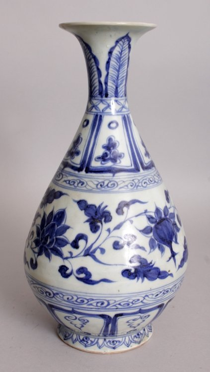 A CHINESE YUAN STYLE BLUE & WHITE YUHUCHUNPING - 3