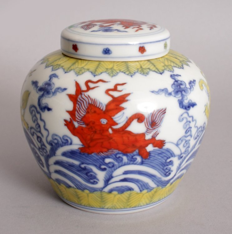 A CHINESE MING STYLE DOUCAI PORCELAIN HEAVEN JAR &