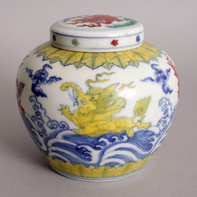 A CHINESE MING STYLE DOUCAI PORCELAIN HEAVEN JAR & - 4
