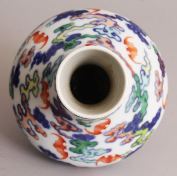 A CHINESE DOUCAI PORCELAIN BOTTLE VASE, the sides - 5