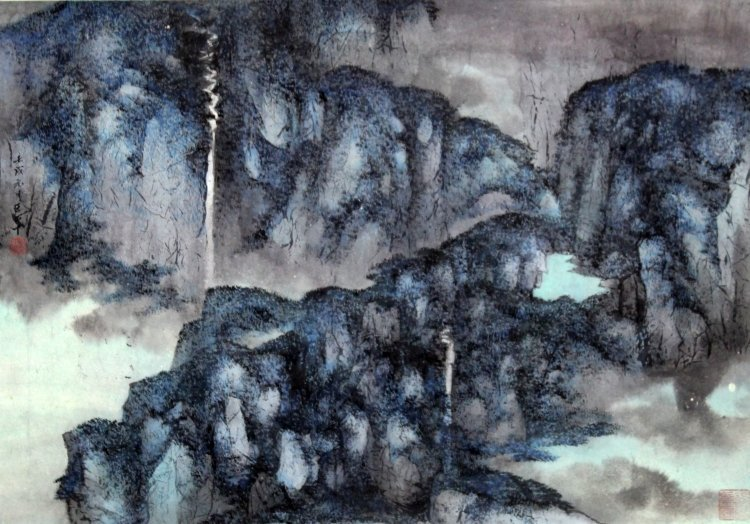 A 20TH CENTURY CHINESE SCROLL PAINTING ON PAPER,