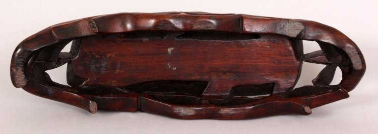 AN EARLY 20TH CENTURY CHINESE CARVED HARDWOOD STAND, - 4