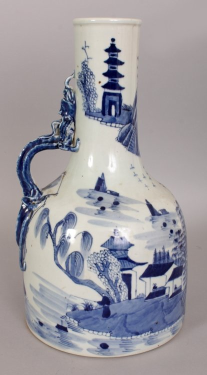 AN UNUSUAL CHINESE BLUE & WHITE PORCELAIN WATER JUG, - 3
