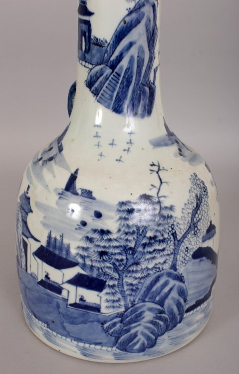 AN UNUSUAL CHINESE BLUE & WHITE PORCELAIN WATER JUG, - 8