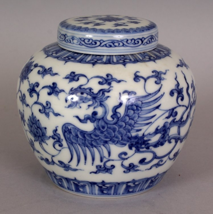 A SMALL CHINESE MING STYLE BLUE & WHITE HEAVEN JAR & - 3