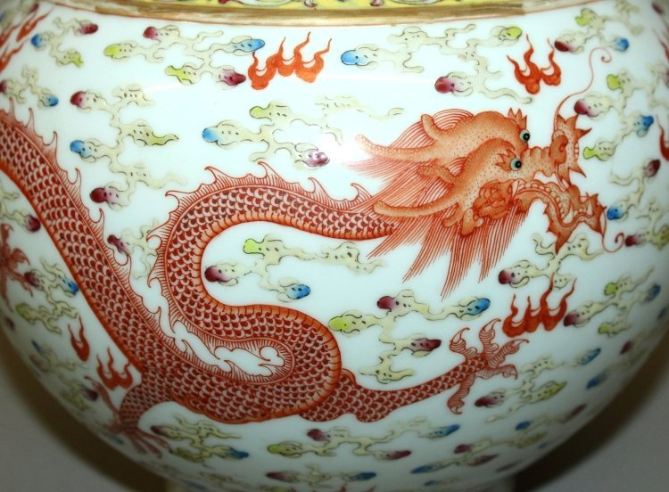 A LARGE CHINESE FAMILLE ROSE DRAGON & PHOENIX BOTTLE - 8