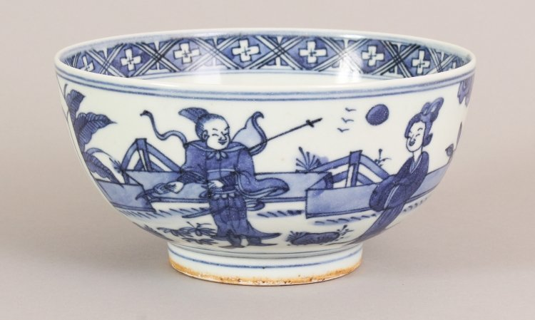 A CHINESE WANLI STYLE BLUE & WHITE PORCELAIN BOWL, the