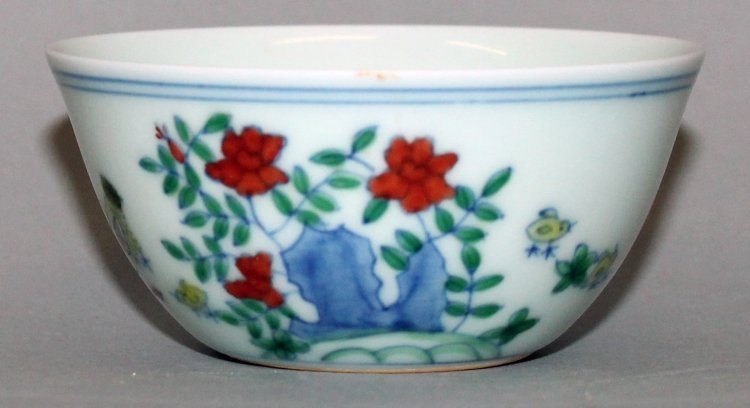 A CHINESE DOUCAI PORCELAIN CHICKEN CUP, the base with a - 2