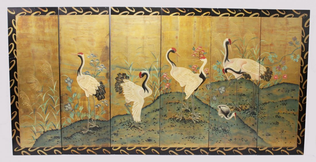 A 20TH CENTURY CHINESE PAINTED SIX PANEL SCREEN,