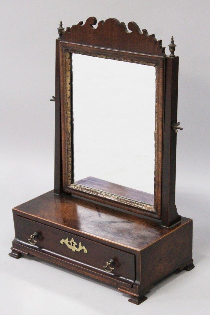 A GOOD GEORGE III MAHOGANY DRESSING TABLE MIRROR, the