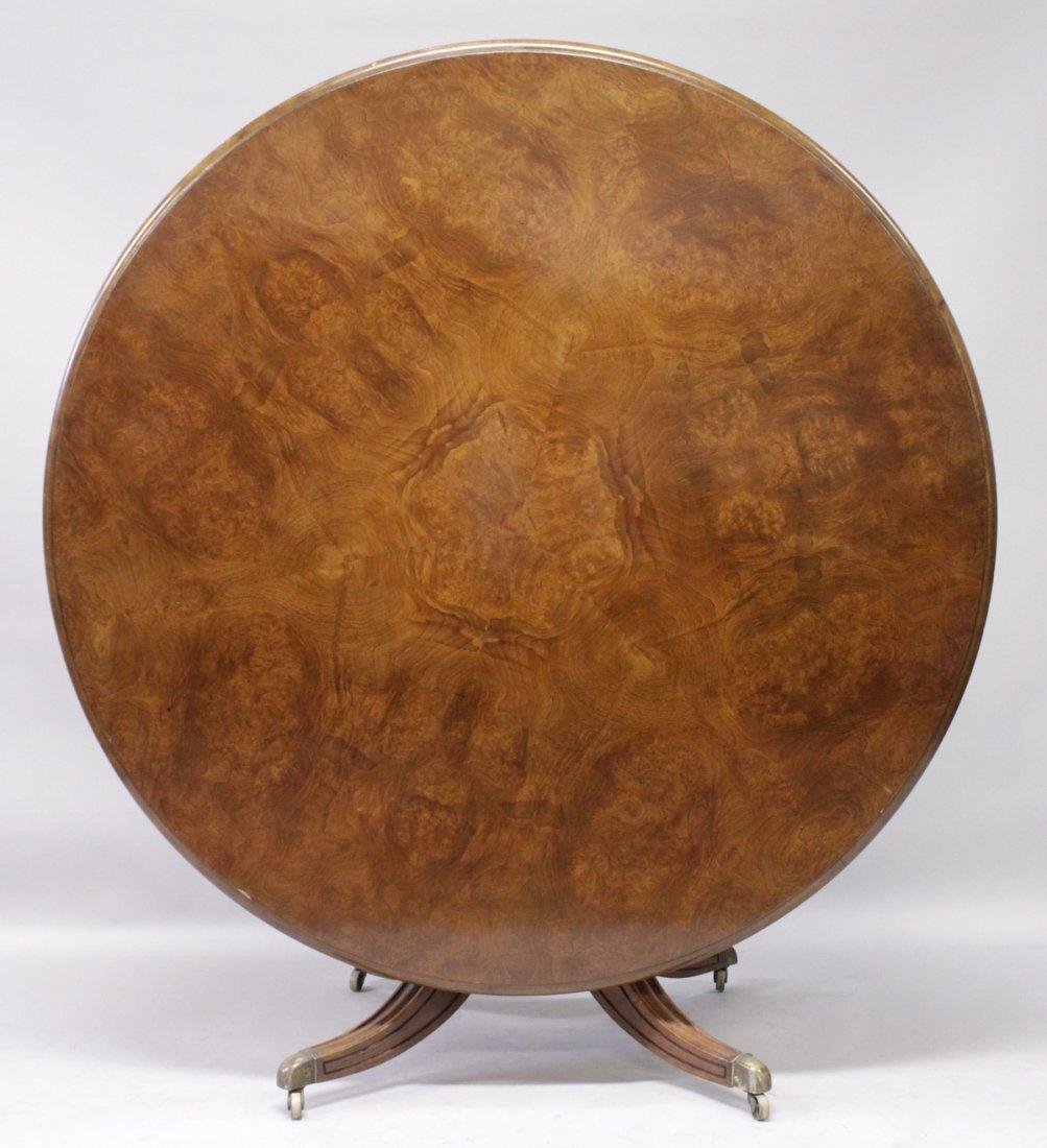 A GOOD 19TH CENTURY BURR WALNUT CIRCULAR TILT TOP