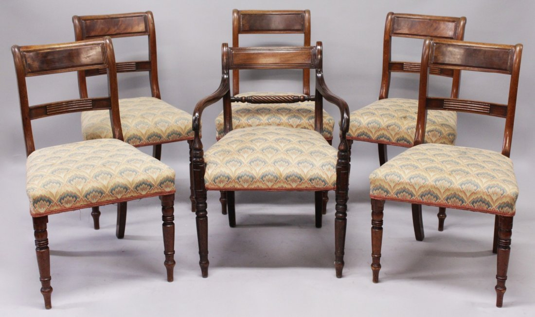 A SET OF SIX WILLIAM IV MAHOGANY DINING CHAIRS, one