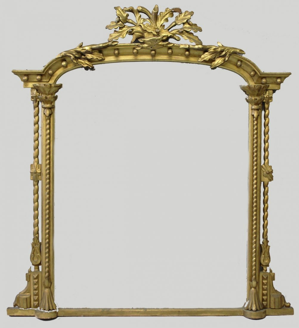 A LARGE VICTORIAN GILDED OVERMANTLE MIRROR, the centre