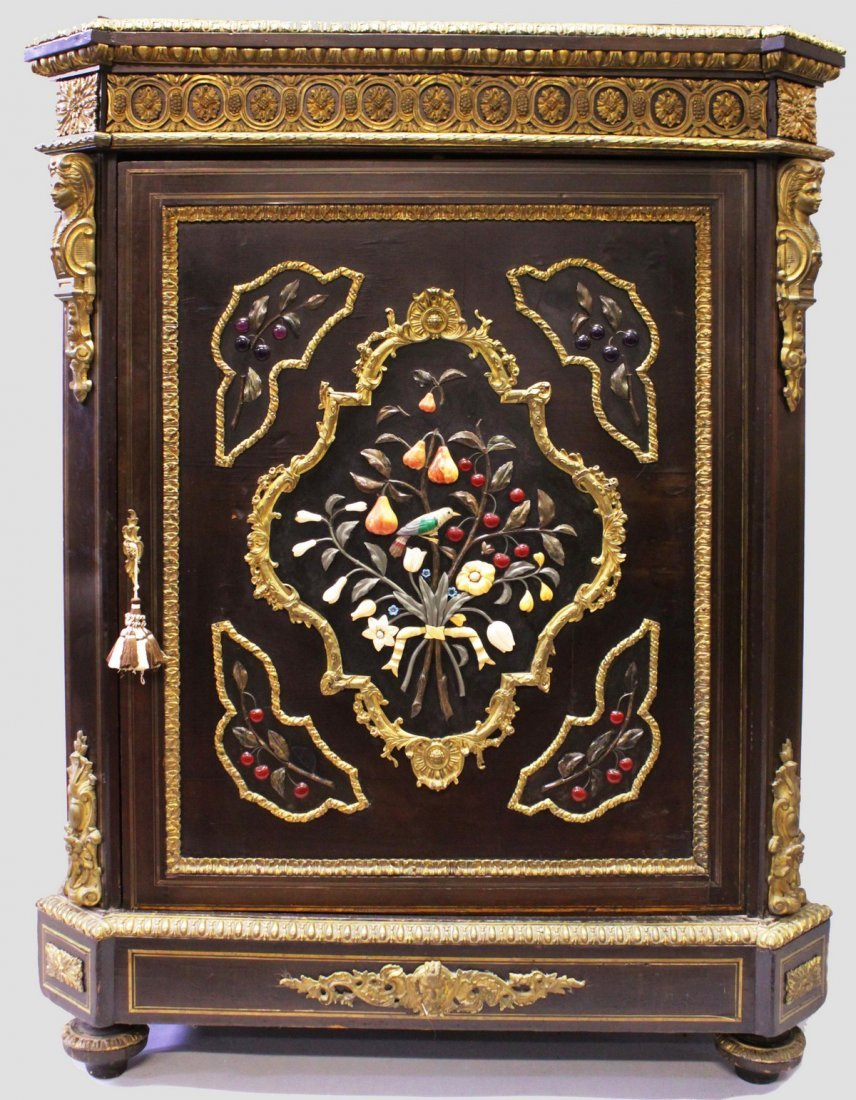 A SUPERB VICTORIAN EBONY AND PIETRA DURA CABINET with