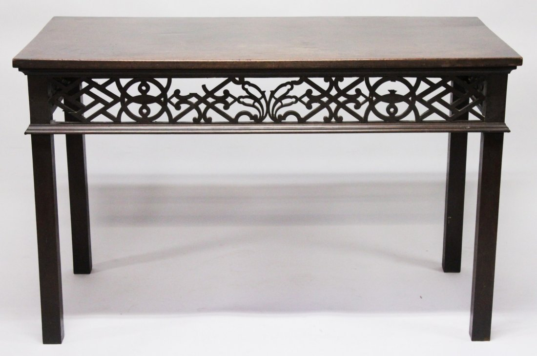 A GEORGE III MAHOGANY RECTANGULAR TOP TABLE with