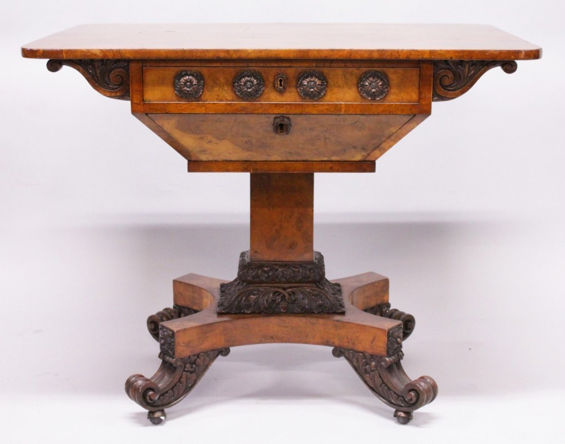 A SUPERB 19TH CENTURY POLLARD OAK SEWING TABLE, stamped